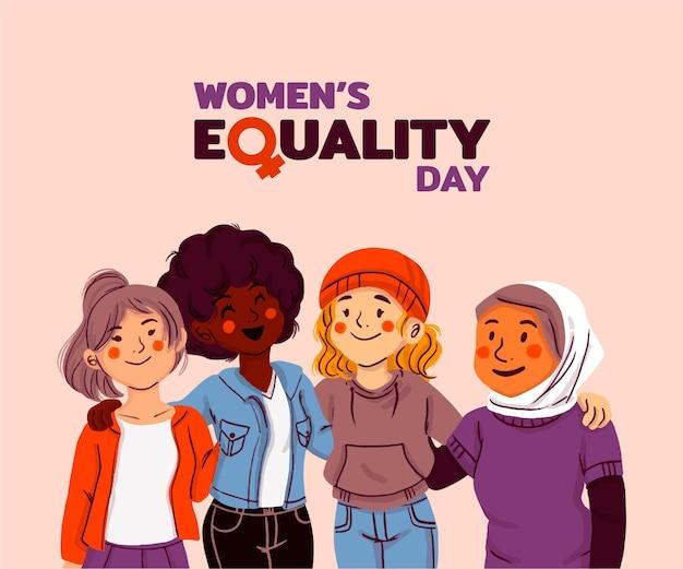 Dibujado a mano ilustración del día de la igualdad de la mujer