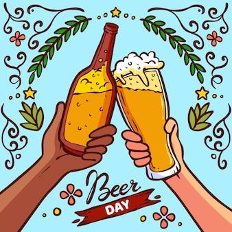Dibujado a mano ilustración del día internacional de la cerveza