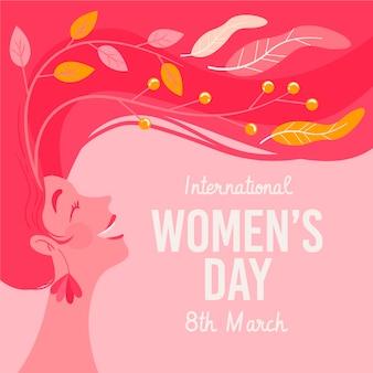Dibujado a mano ilustración del día internacional de la mujer con mujer con cabello largo