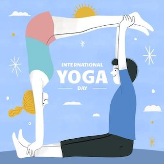 Dibujado a mano ilustración del día internacional del yoga