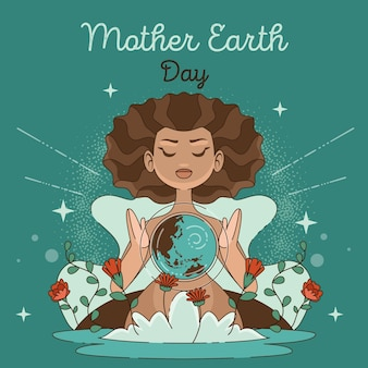 Dibujado a mano ilustración del día de la madre tierra