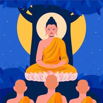 Dibujado a mano ilustración del día de makha bucha