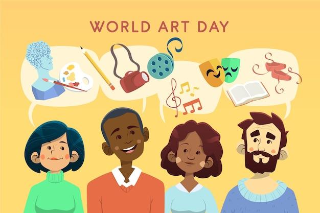 Dibujado a mano ilustración del día mundial del arte