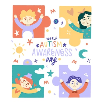 Dibujado a mano ilustración del día mundial del autismo
