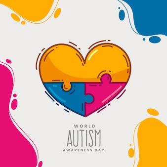 Dibujado a mano ilustración del día mundial de la concienciación sobre el autismo con piezas de rompecabezas