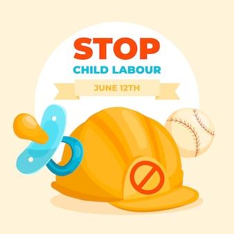 Dibujado a mano ilustración del día mundial contra el trabajo infantil
