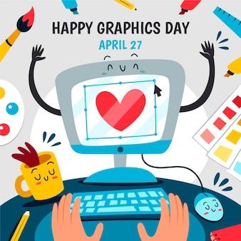 Dibujado a mano ilustración del día mundial de los gráficos