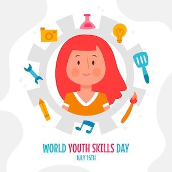 Dibujado a mano ilustración del día mundial de las habilidades de la juventud
