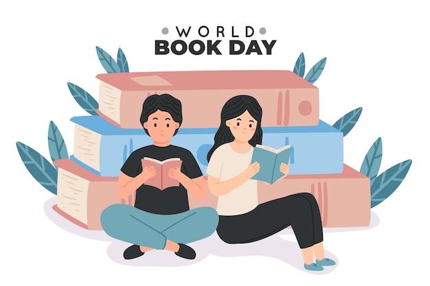 Dibujado a mano ilustración del día mundial del libro con gente leyendo