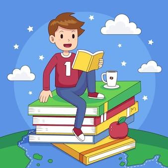 Dibujado a mano ilustración del día mundial del libro con hombre leyendo
