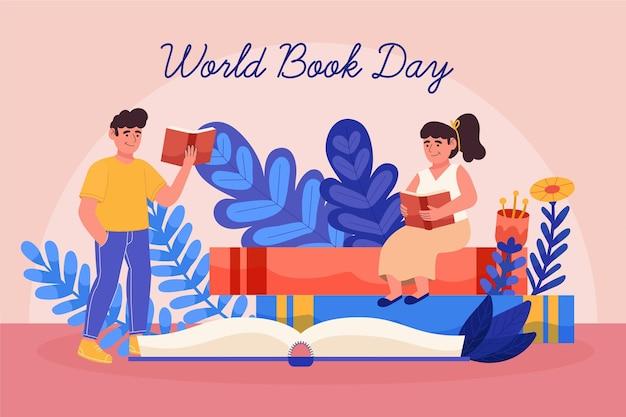 Dibujado a mano ilustración del día mundial del libro con personas leyendo libros