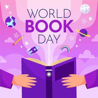 Dibujado a mano ilustración del día mundial del libro con personas sosteniendo un libro