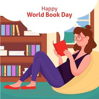 Dibujado a mano ilustración del día mundial del libro
