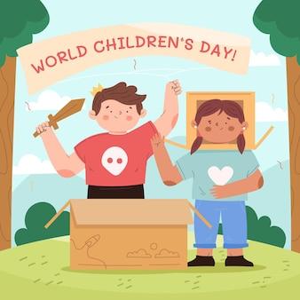 Dibujado a mano ilustración del día mundial del niño plano