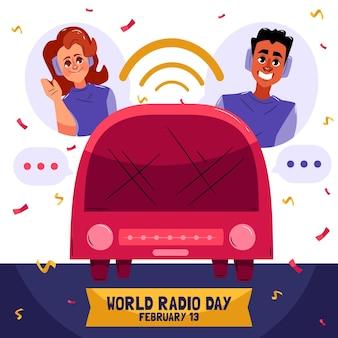 Dibujado a mano ilustración del día mundial de la radio