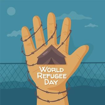 Dibujado a mano ilustración del día mundial de los refugiados