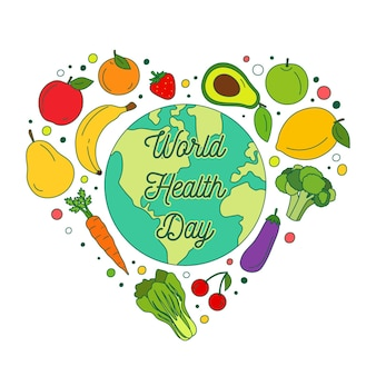 Dibujado a mano ilustración del día mundial de la salud con frutas y verduras