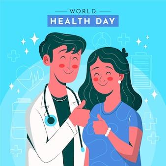 Dibujado a mano ilustración del día mundial de la salud con médico y paciente dando pulgares