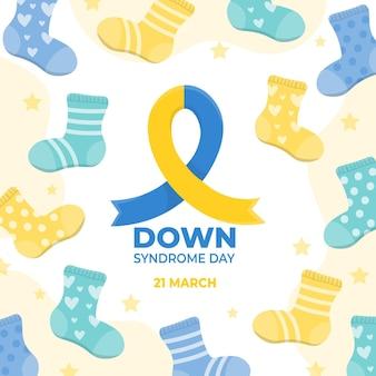 Dibujado a mano ilustración del día mundial del síndrome de down con calcetines y cinta