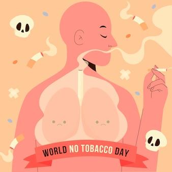 Dibujado a mano ilustración del día mundial sin tabaco