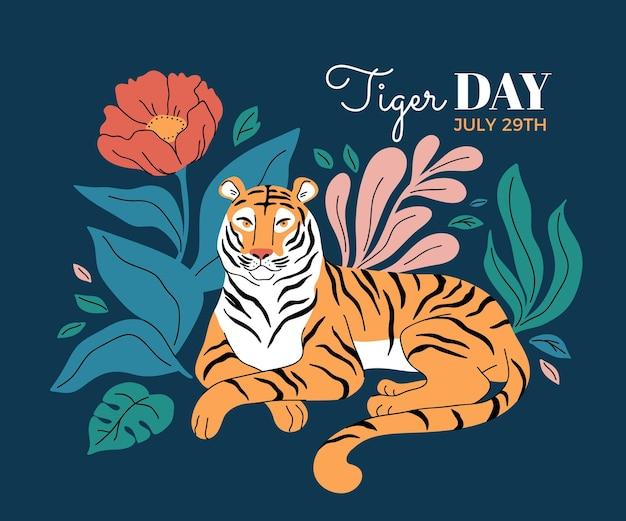 Dibujado a mano ilustración del día mundial del tigre