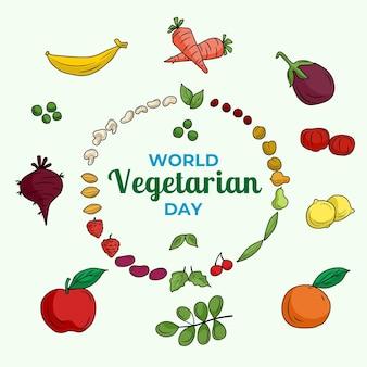 Dibujado a mano ilustración del día mundial del vegetariano