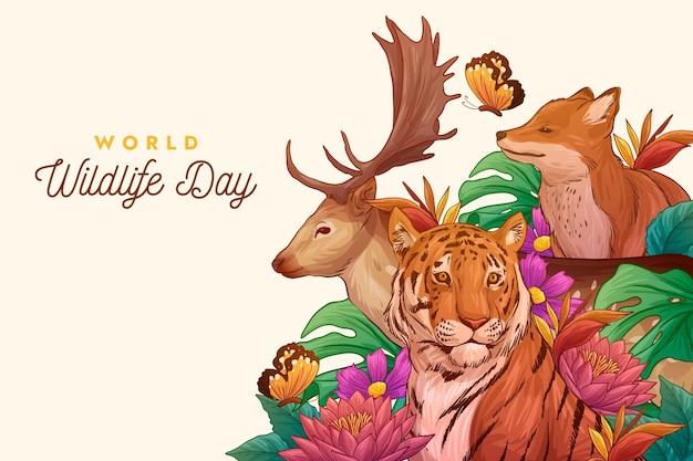 Dibujado a mano ilustración del día mundial de la vida silvestre con animales