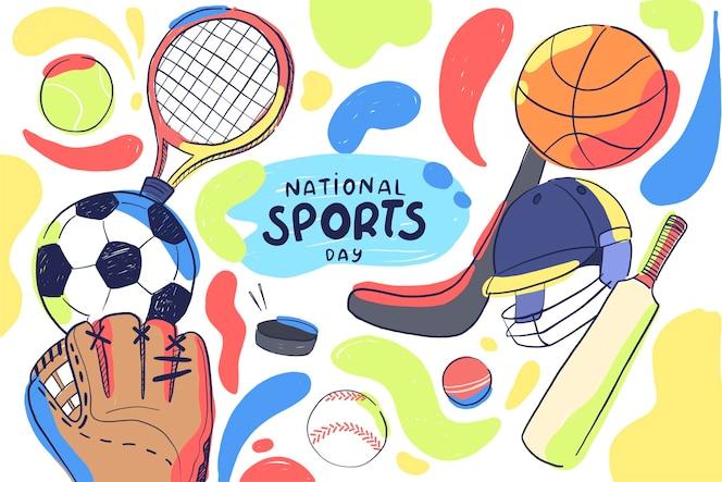 Dibujado a mano ilustración del día nacional del deporte