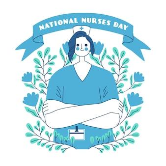 Dibujado a mano ilustración del día nacional de las enfermeras