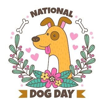 Dibujado a mano ilustración del día nacional del perro
