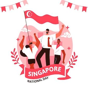 Dibujado a mano ilustración del día nacional de singapur