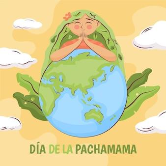 Dibujado a mano ilustración dia de la pachamama