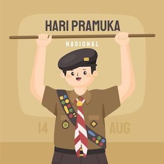 Dibujado a mano ilustración del día de pramuka