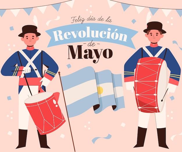 Dibujado a mano ilustración de dia de la revolucion de mayo argentino