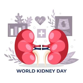 Dibujado a mano ilustración del día del riñón