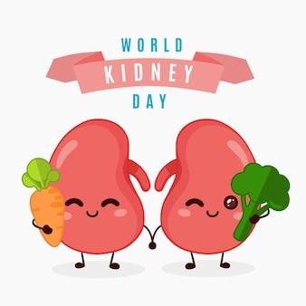 Dibujado a mano ilustración del día del riñón vector gratuito
