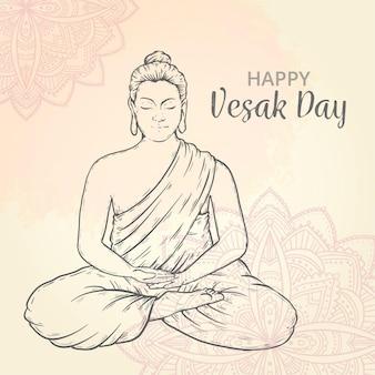 Dibujado a mano ilustración del día de vesak