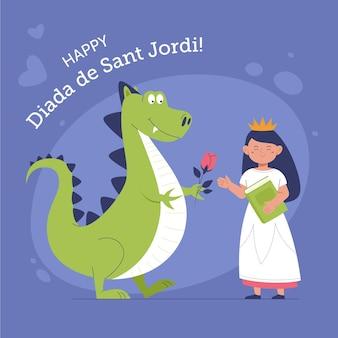 Dibujado a mano ilustración diada de sant jordi con dragón y princesa