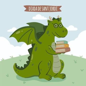 Dibujado a mano ilustración diada de sant jordi con dragón sosteniendo una pila de libros