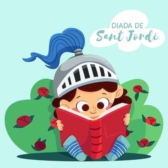 Dibujado a mano ilustración de diada de sant jordi con libro de lectura de caballero
