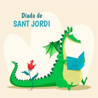 Dibujado a mano ilustración de diada de sant jordi con libro de lectura de dragón