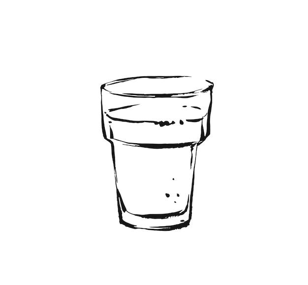 Dibujado a mano ilustración de dibujo de dibujo de tinta de cocina artística abstracta