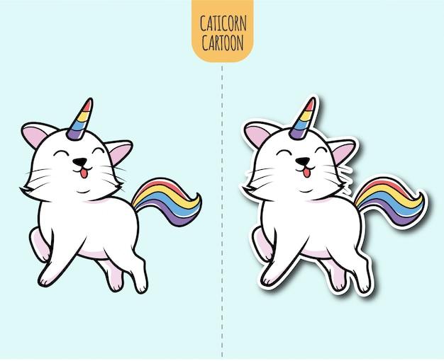 Dibujado a mano ilustración de dibujos animados caticorn con opción de diseño de etiqueta