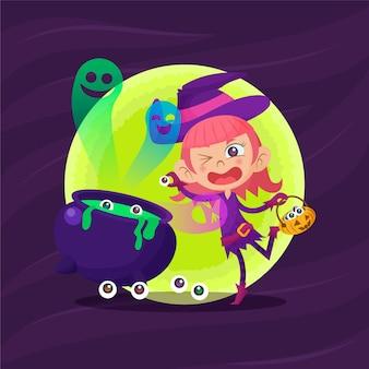 Dibujado a mano ilustración de dibujos animados de fondo de niña bruja de halloween plana