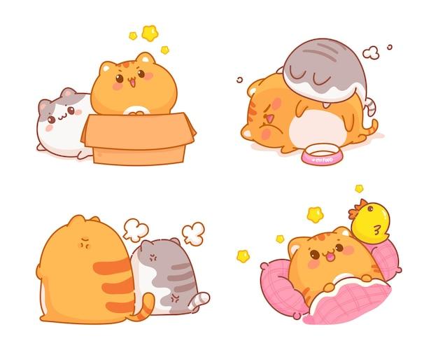 Dibujado a mano ilustración de dibujos animados lindo gato colección