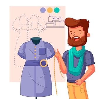Dibujado a mano ilustración diseñador de moda