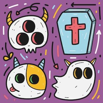 Dibujado a mano ilustración de diseño de doodle de halloween