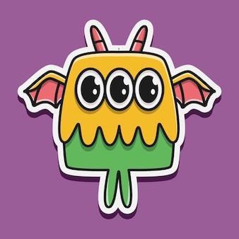 Dibujado a mano ilustración de diseño de etiqueta de monstruo de dibujos animados