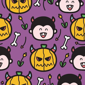 Dibujado a mano ilustración de diseño de patrón de doodle de halloween