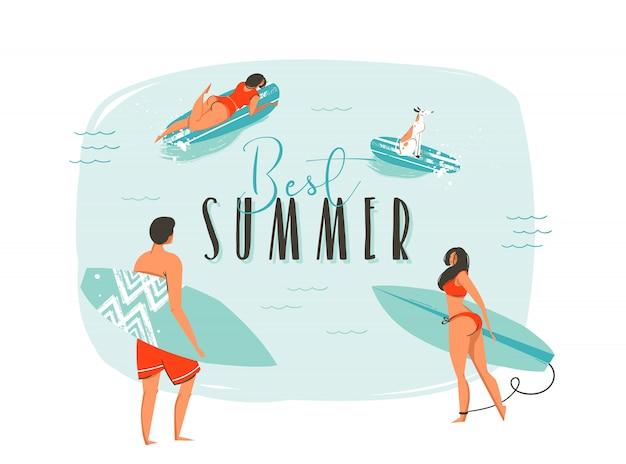 Dibujado a mano ilustración de diversión de horario de verano de coon con familia feliz de surfistas con tablas largas y cita de tipografía moderna